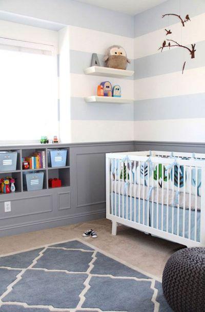 Decorar con franjas horizontales es tendencia decorativa para espacios infantiles.